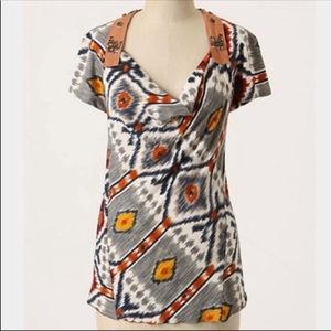 Anthropologie Tiny Aztec Print embellished top S